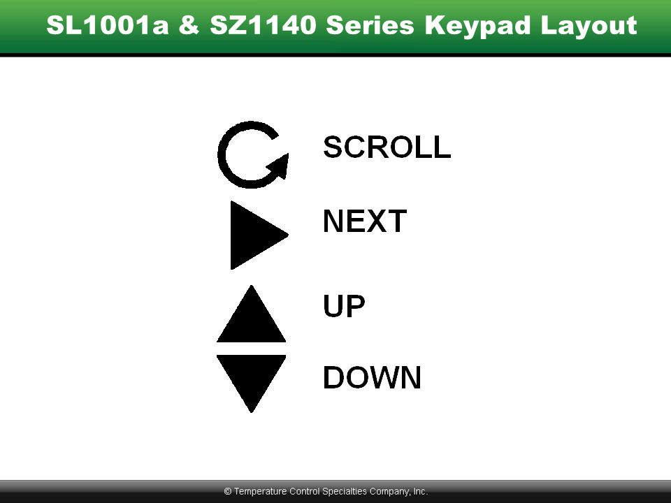 SL1001a & SZ1140 Series Keypad Layout