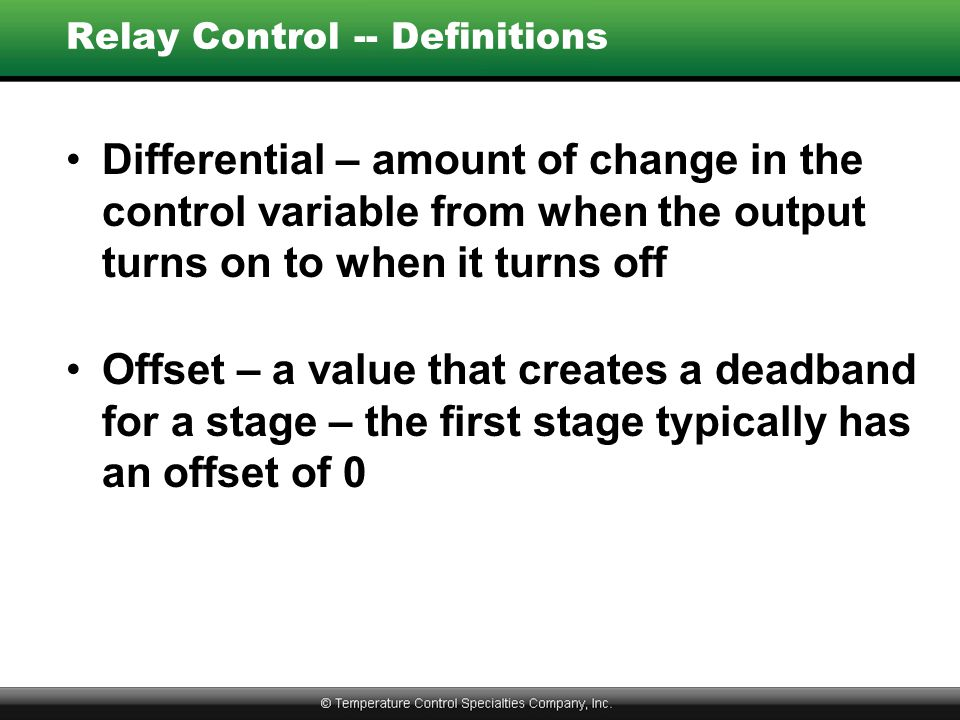 Relay Control -- Definitions