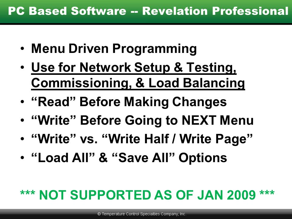 PC Based Software -- Revelation Professional