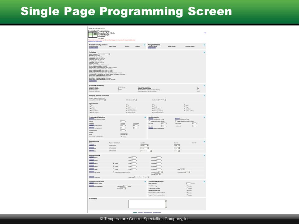 Single Page Programming Screen