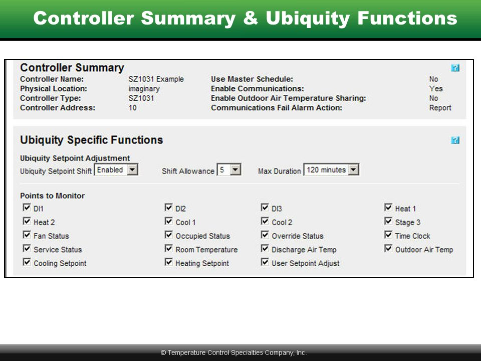 Controller Summary & Ubiquity Functions