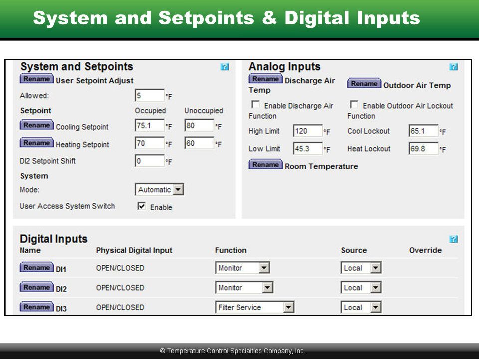 System and Setpoints & Digital Inputs
