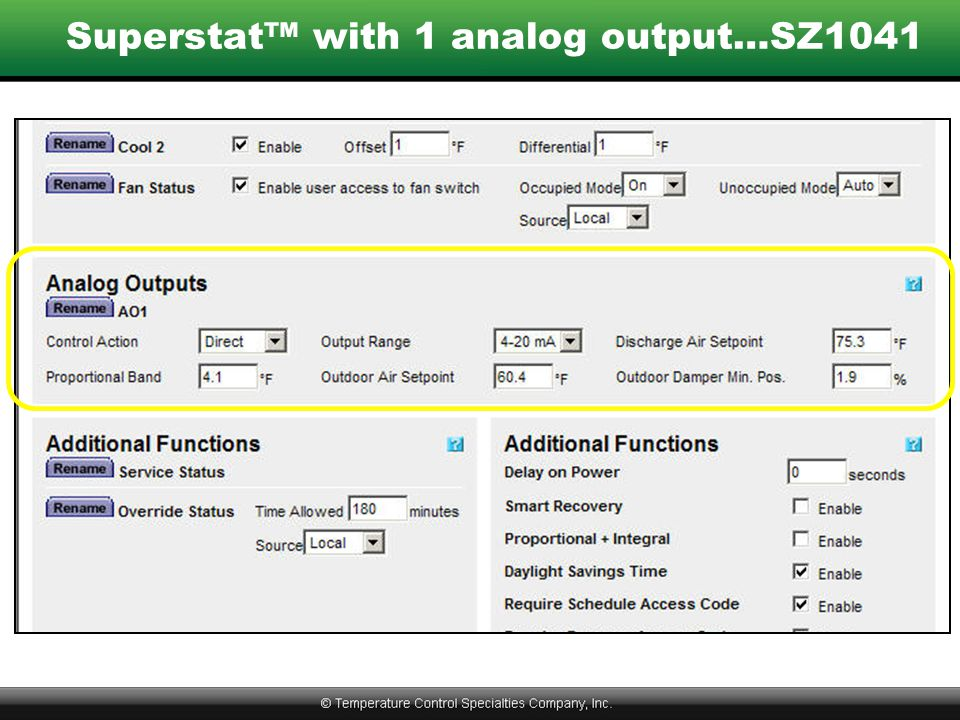 Superstat™ with 1 analog output…SZ1041