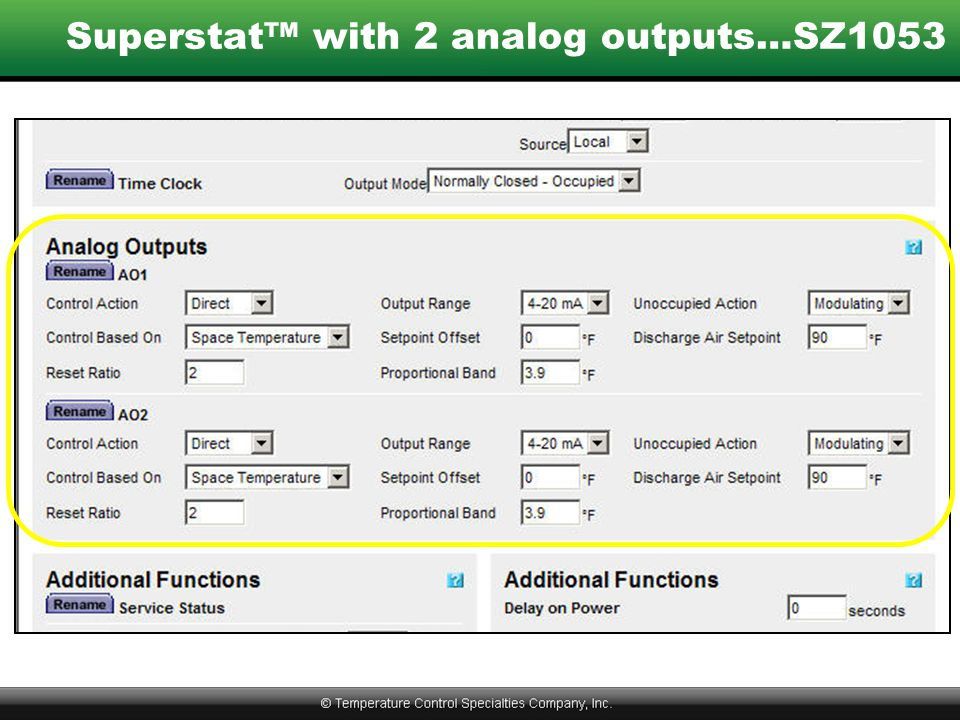 Superstat™ with 2 analog outputs…SZ1053