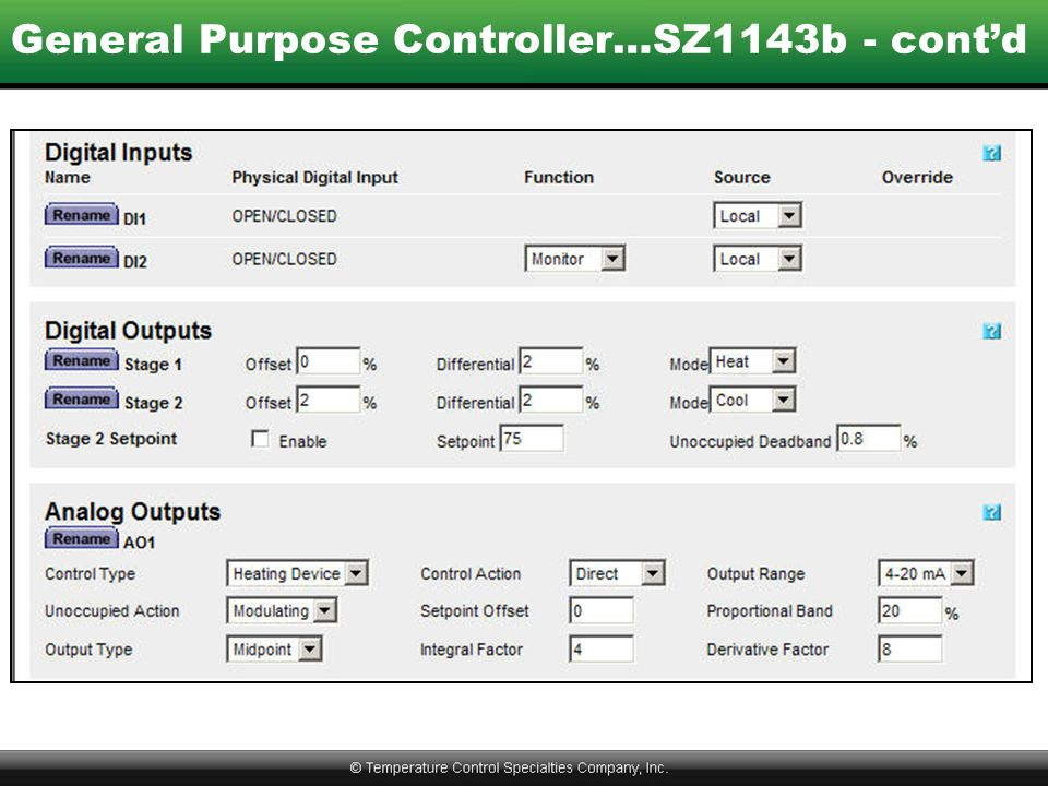 General Purpose Controller…SZ1143b - cont'd