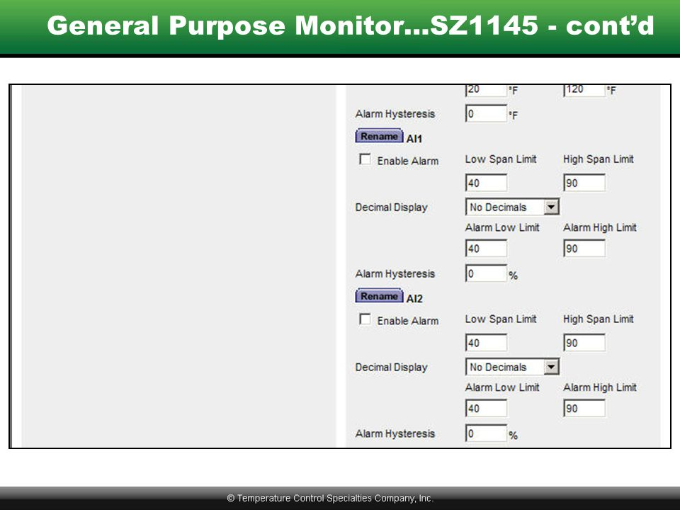 General Purpose Monitor…SZ1145 - cont'd