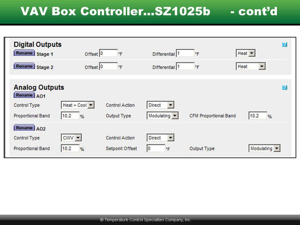 VAV Box Controller…SZ1025b - cont'd