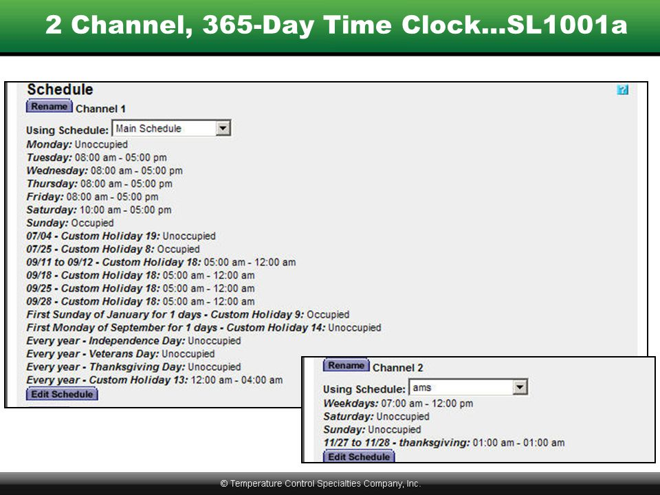 2 Channel, 365-Day Time Clock…SL1001a