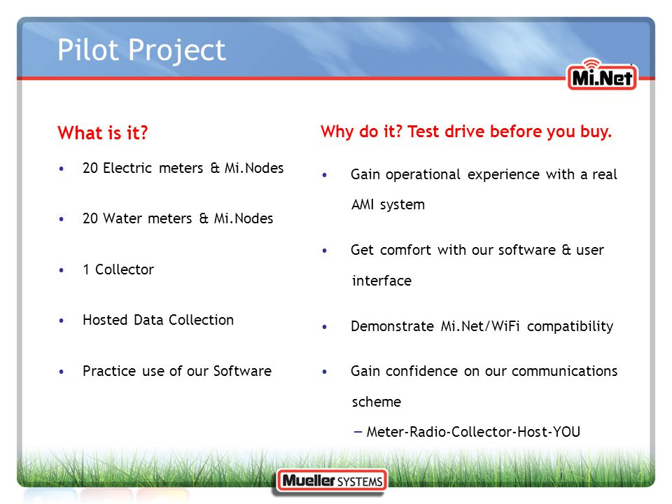 Pilot Project What is it Why do it Test drive before you buy.