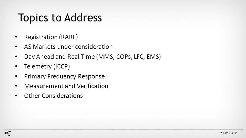 Topics to Address Registration (RARF) AS Markets under consideration
