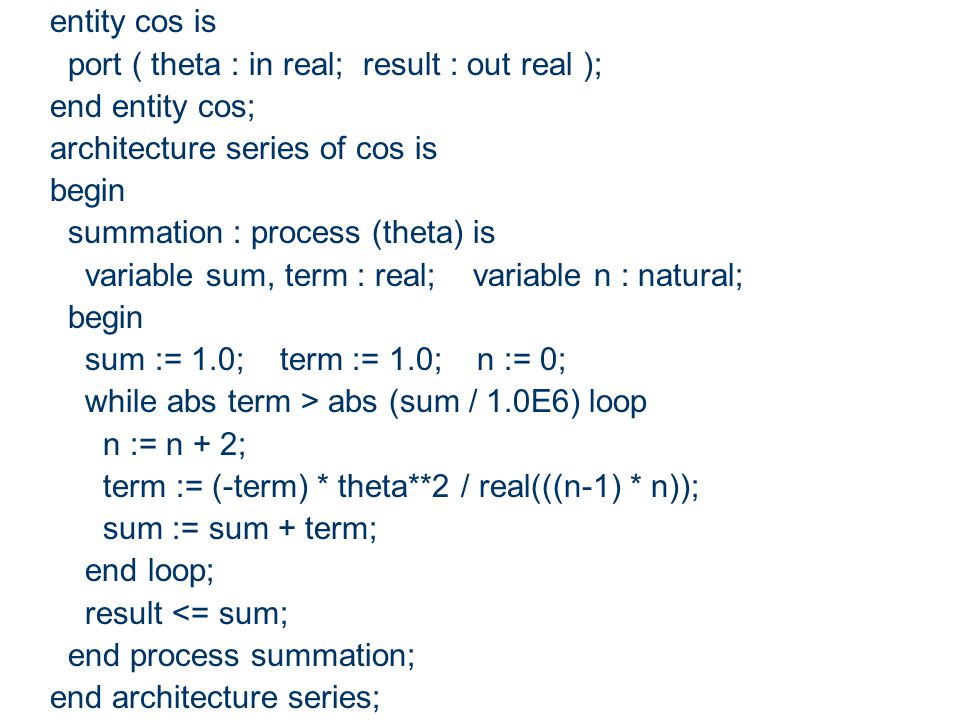 entity cos is port ( theta : in real; result : out real ); end entity cos; architecture series of cos is.