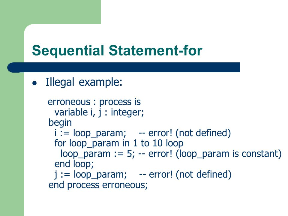 Sequential Statement-for
