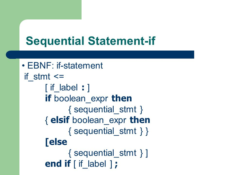 Sequential Statement-if