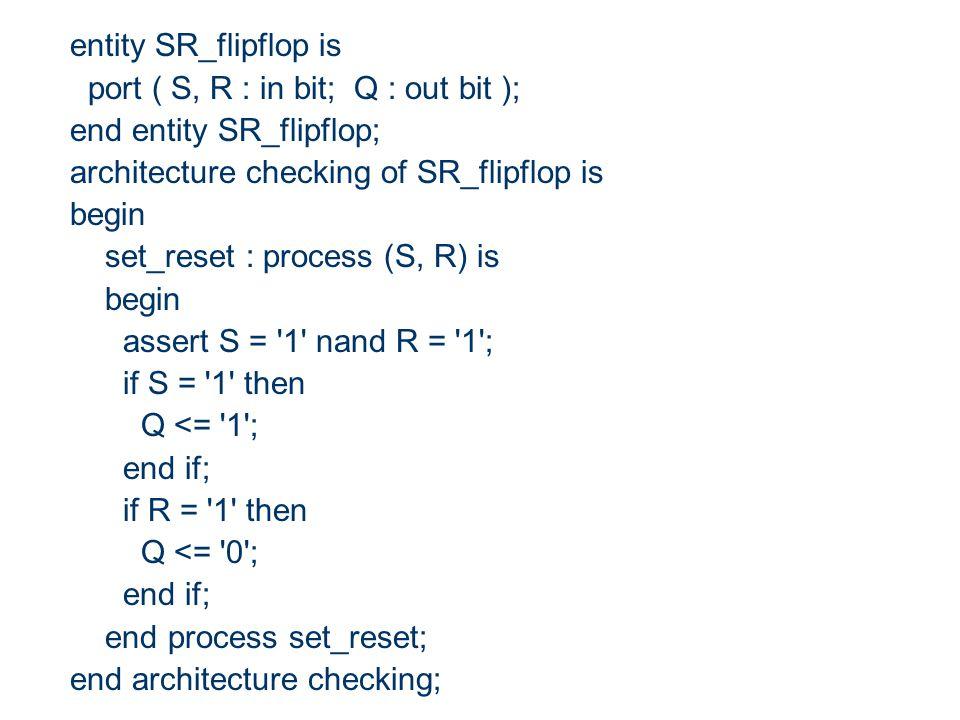 entity SR_flipflop is port ( S, R : in bit; Q : out bit ); end entity SR_flipflop; architecture checking of SR_flipflop is.