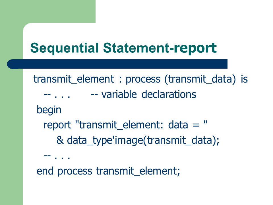 Sequential Statement-report