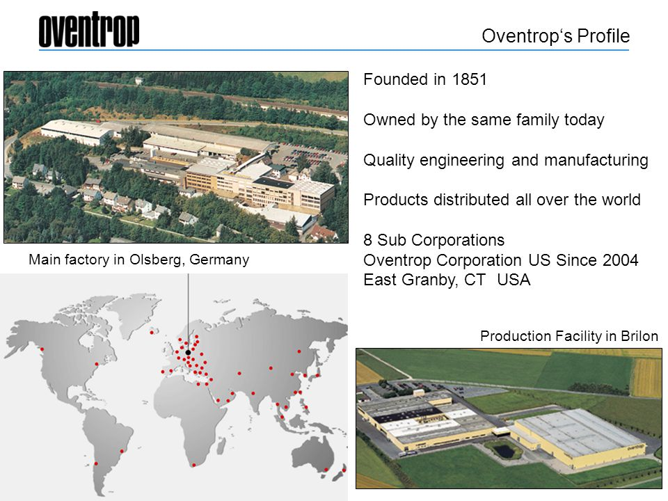 Oventrop's Profile Founded in 1851 Owned by the same family today