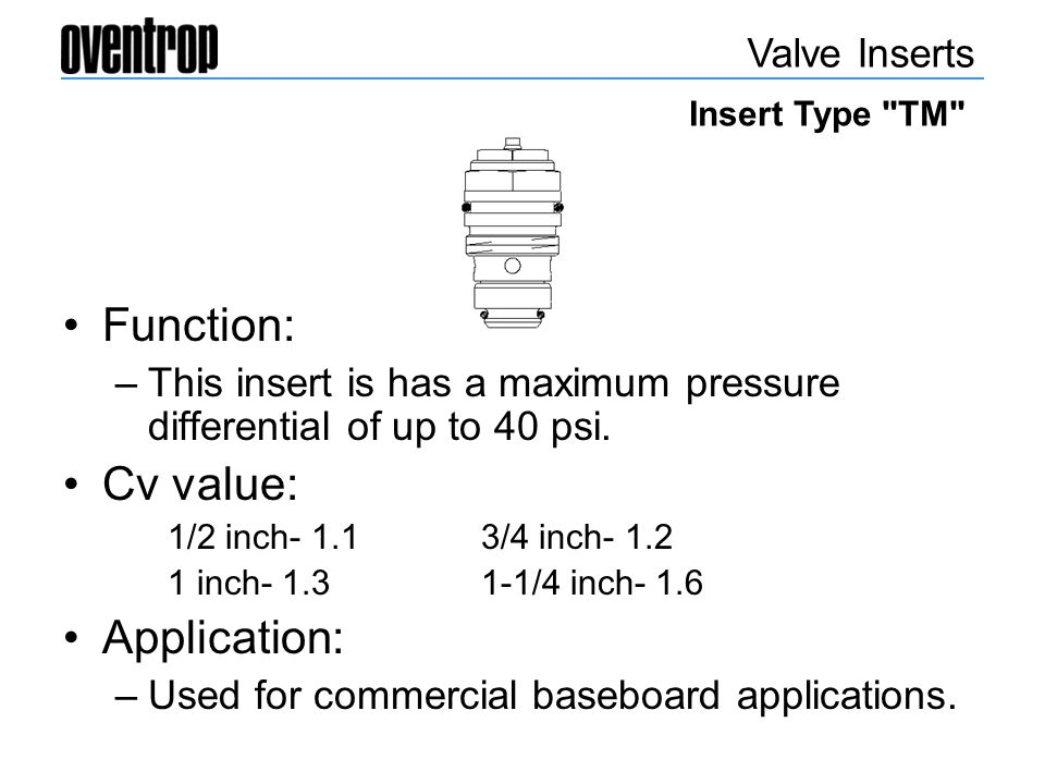 Function: Cv value: Application: Valve Inserts