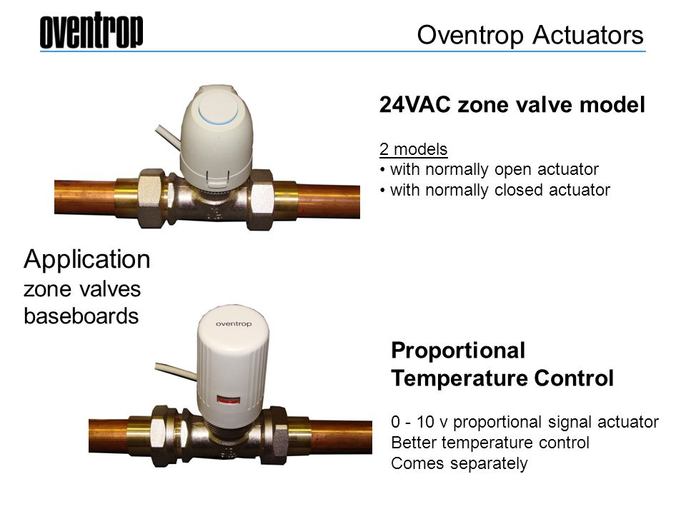 Oventrop Actuators Application 24VAC zone valve model zone valves