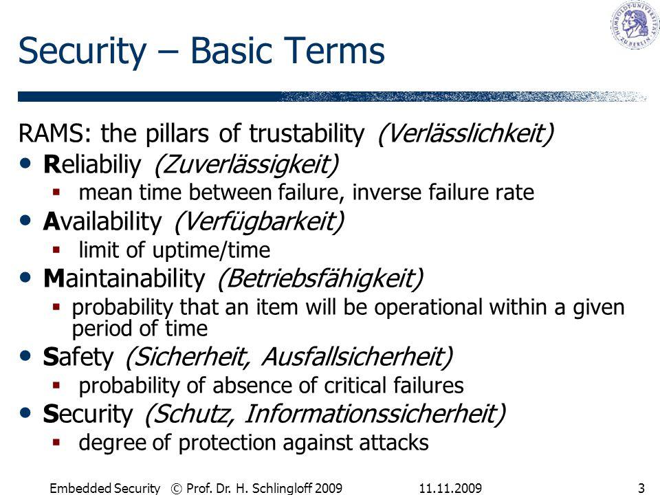 Security – Basic Terms RAMS: the pillars of trustability (Verlässlichkeit) Reliabiliy (Zuverlässigkeit)