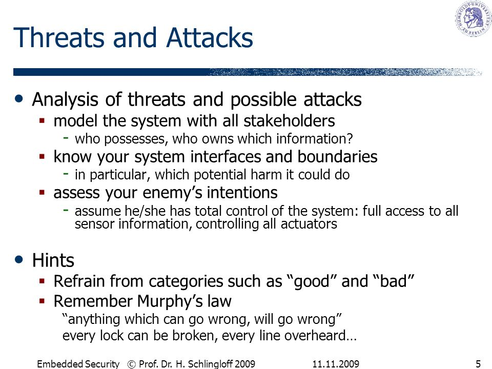 Threats and Attacks Analysis of threats and possible attacks Hints