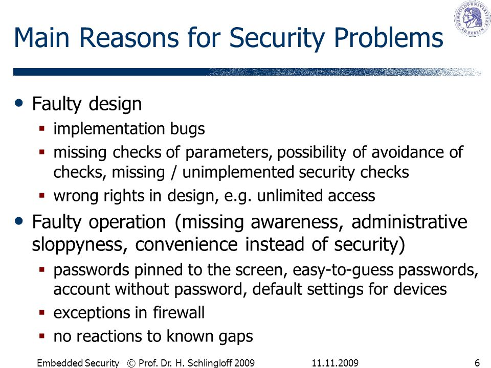 Main Reasons for Security Problems