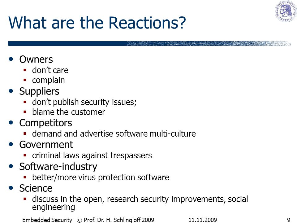 What are the Reactions Owners Suppliers Competitors Government