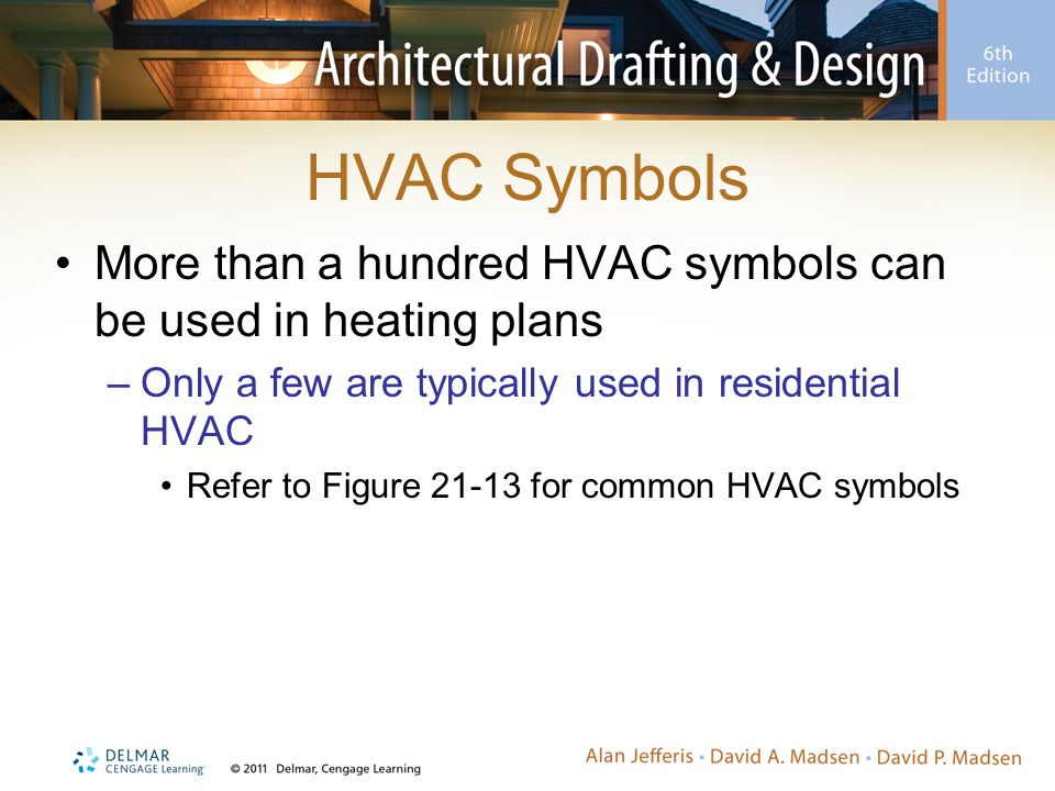 HVAC Symbols More than a hundred HVAC symbols can be used in heating plans. Only a few are typically used in residential HVAC.