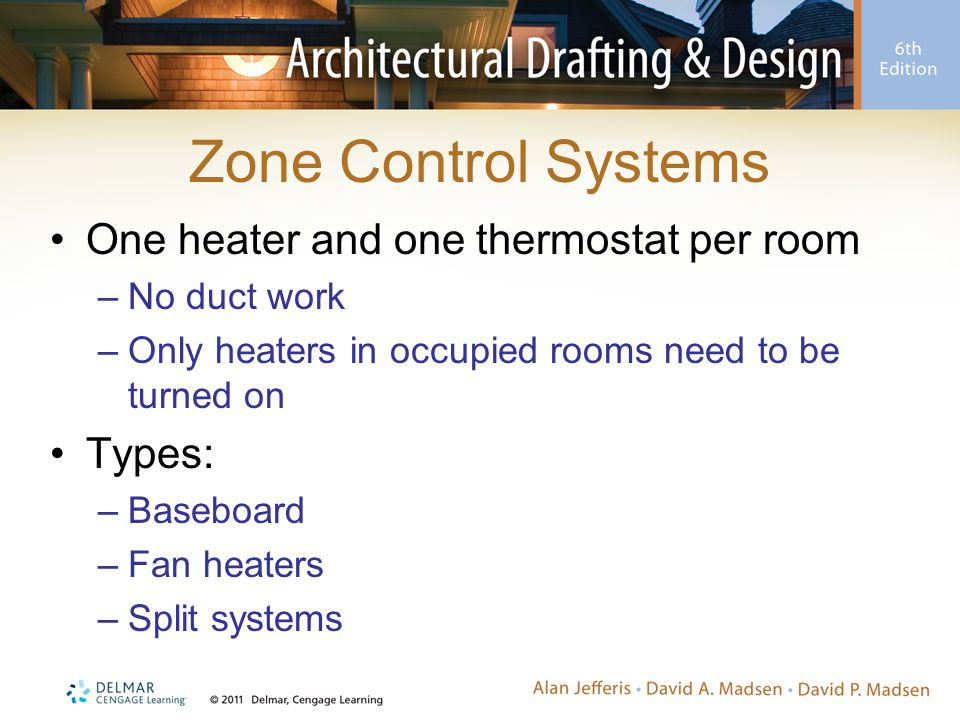 Zone Control Systems One heater and one thermostat per room Types:
