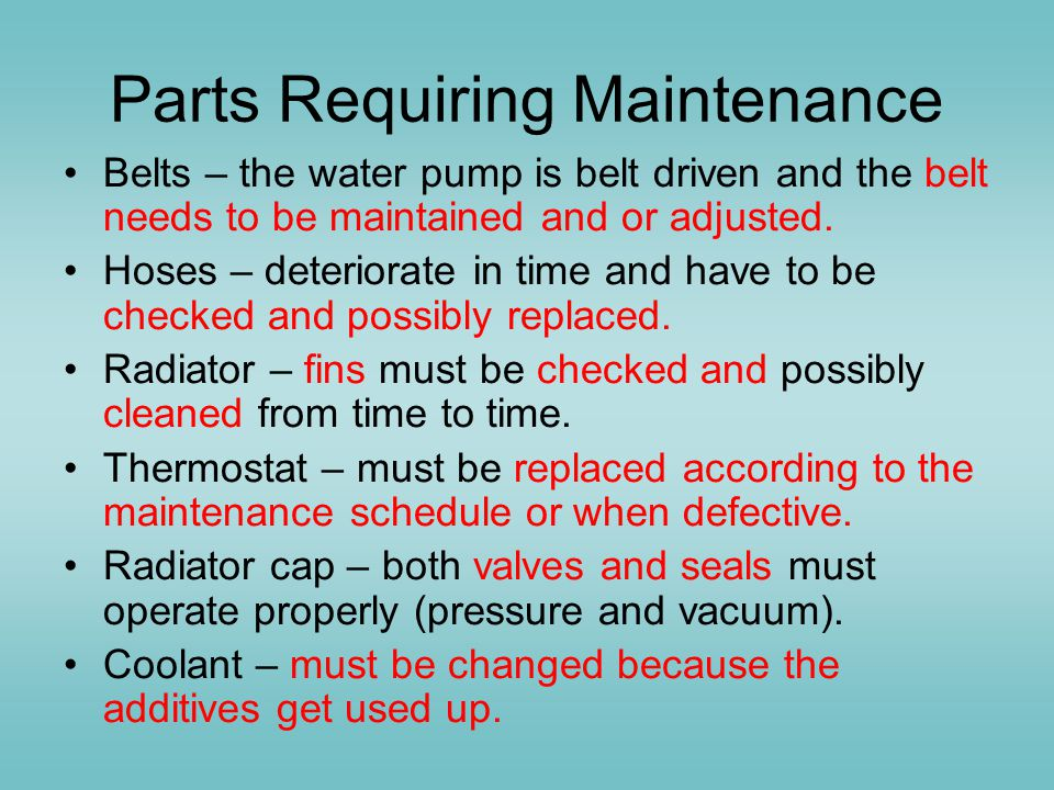 Parts Requiring Maintenance