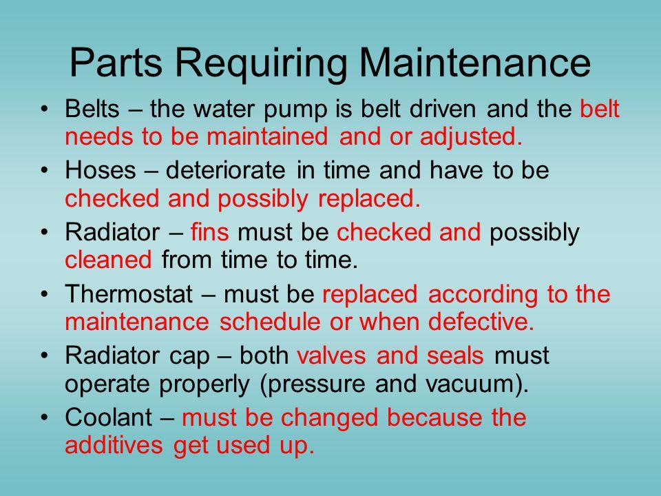 Parts Requiring Maintenance