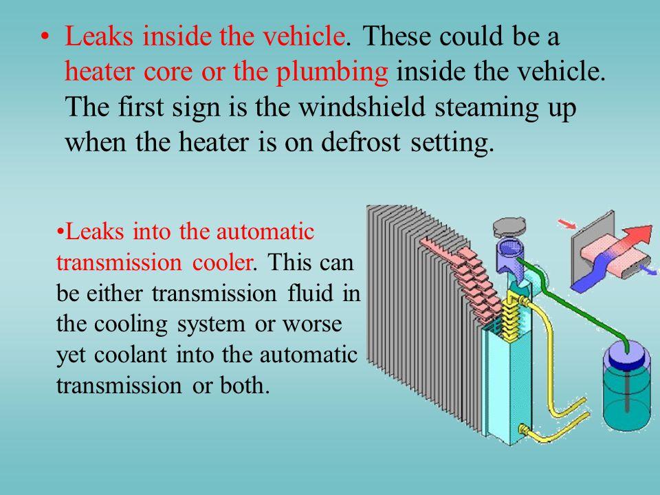 Leaks inside the vehicle