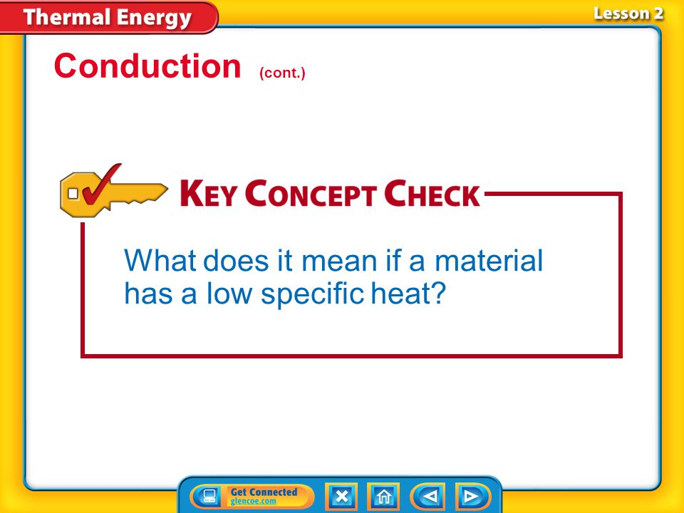 Conduction (cont.) What does it mean if a material has a low specific heat Lesson 2-3