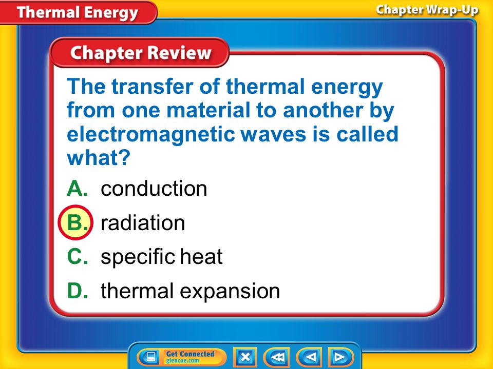The transfer of thermal energy from one material to another by electromagnetic waves is called what