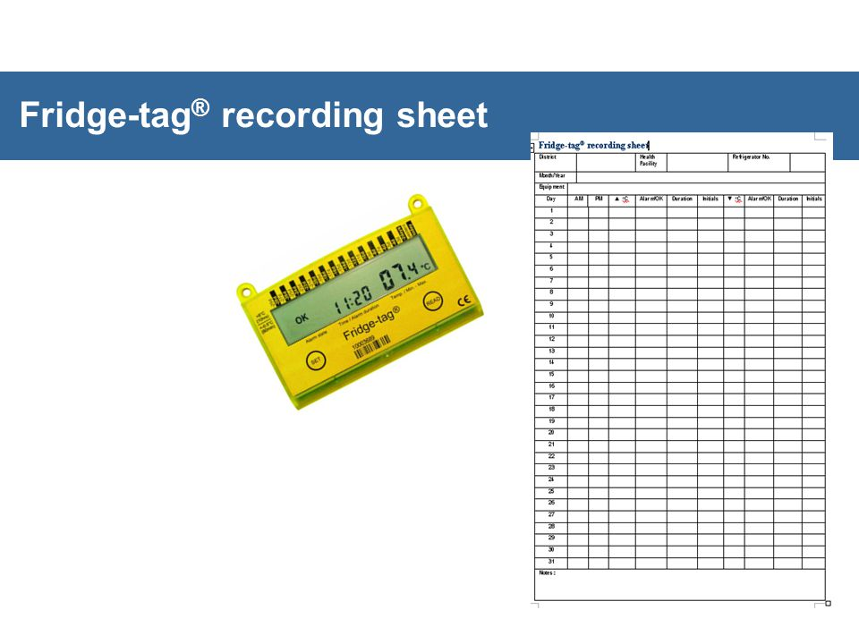 Fridge-tag® recording sheet