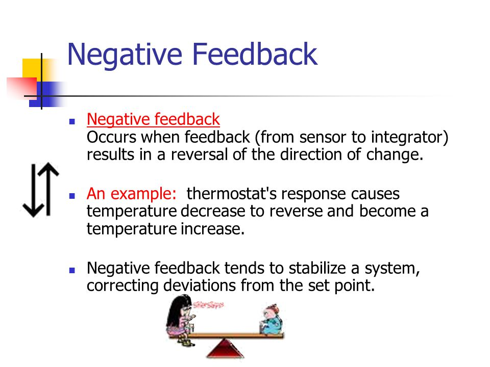 Negative Feedback Negative feedback Occurs when feedback (from sensor to integrator) results in a reversal of the direction of change.