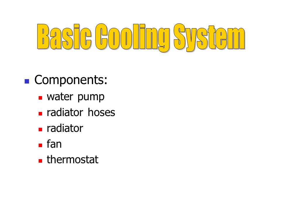 Basic Cooling System Components: water pump radiator hoses radiator