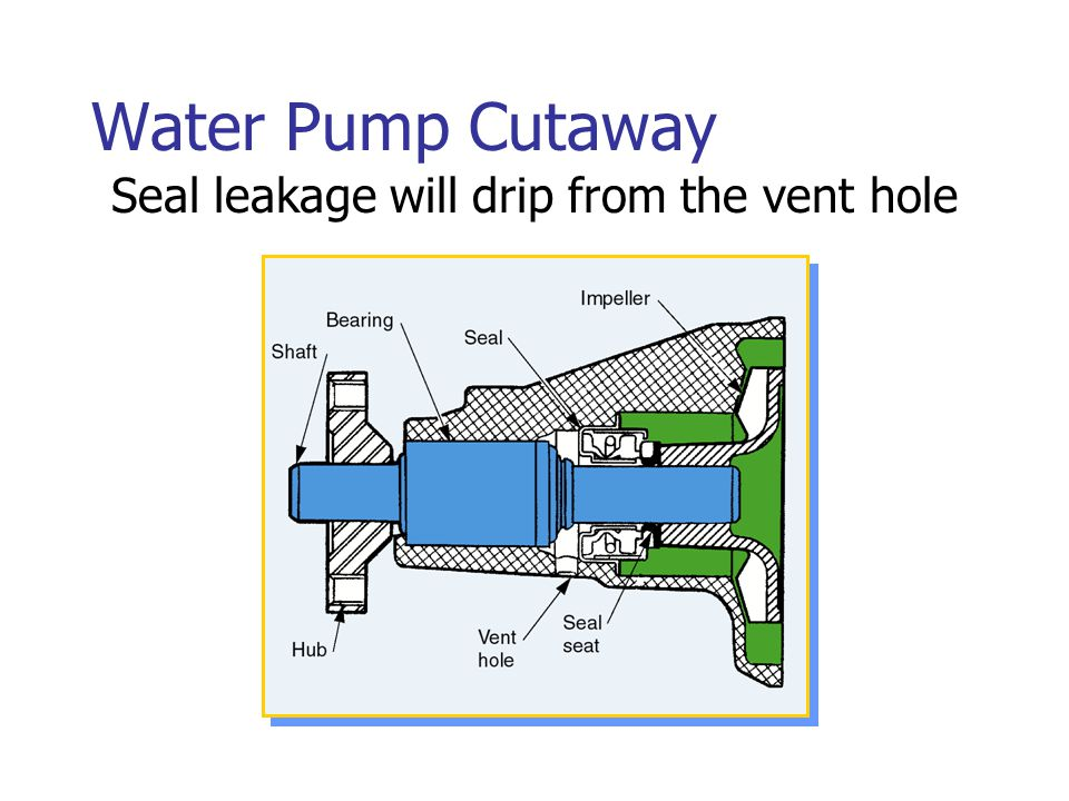 Seal leakage will drip from the vent hole