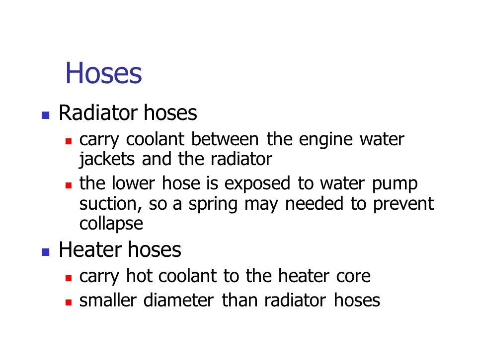 Hoses Radiator hoses Heater hoses