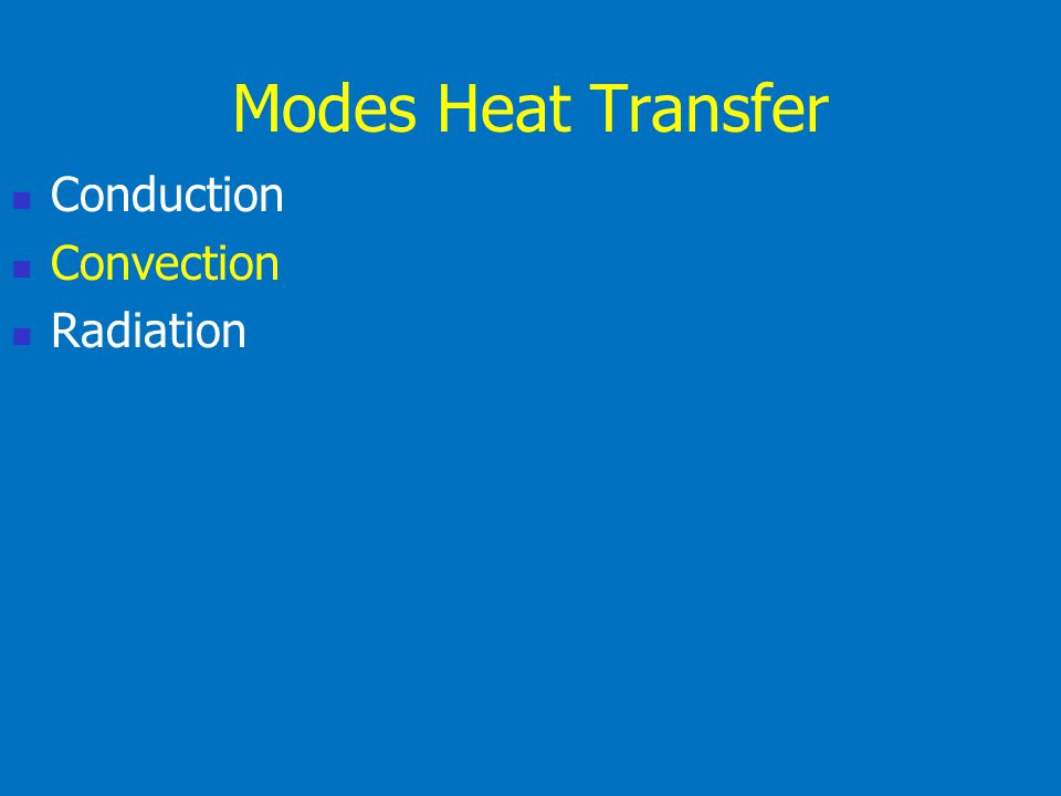 Modes Heat Transfer Conduction Convection Radiation