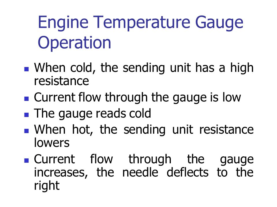 Engine Temperature Gauge Operation