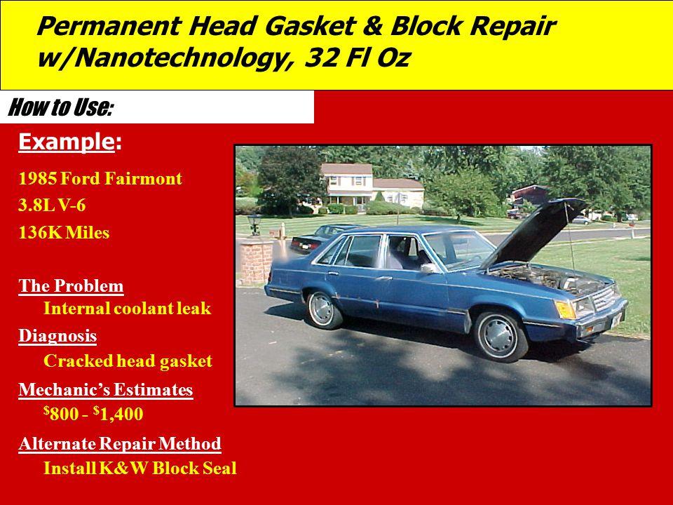 Permanent Head Gasket & Block Repair w/Nanotechnology, 32 Fl Oz