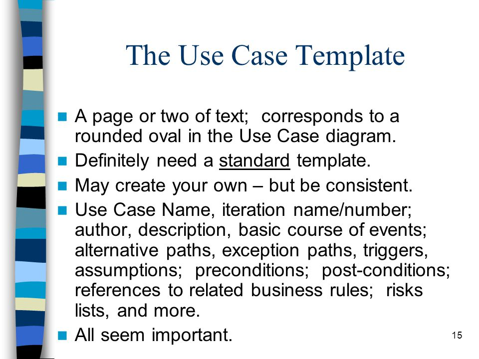 The Use Case Template A page or two of text; corresponds to a rounded oval in the Use Case diagram.