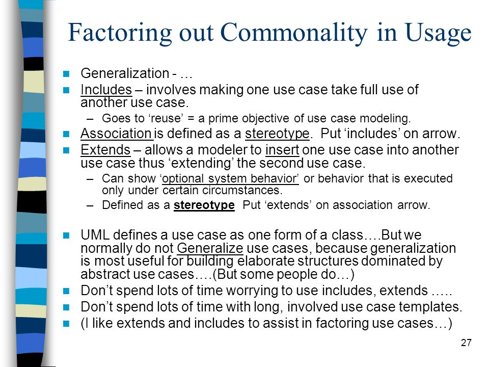 Factoring out Commonality in Usage