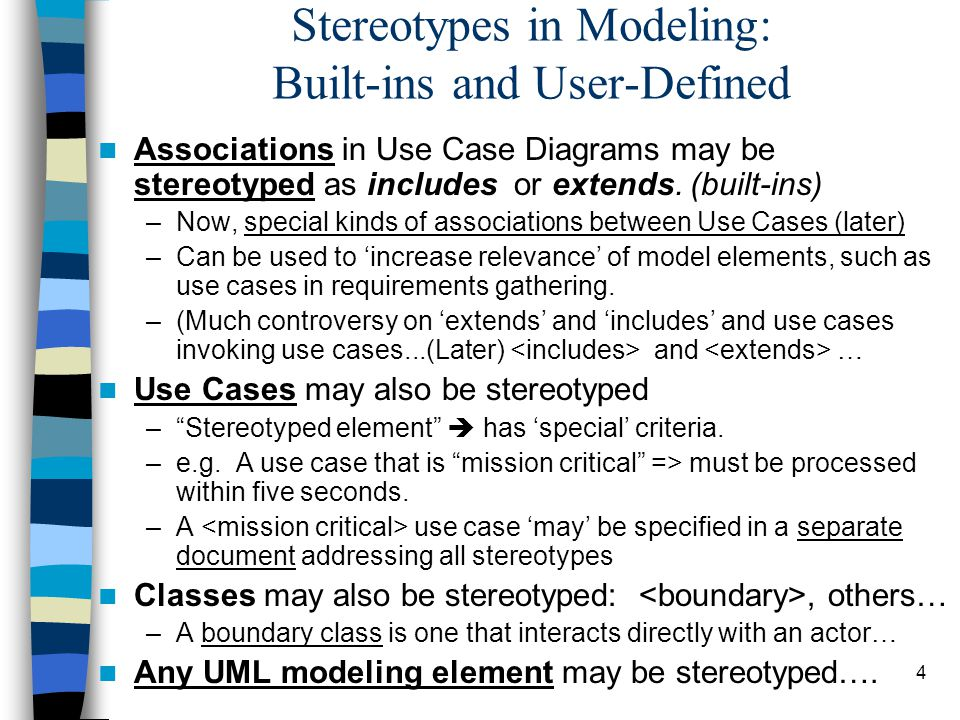 Stereotypes in Modeling: Built-ins and User-Defined