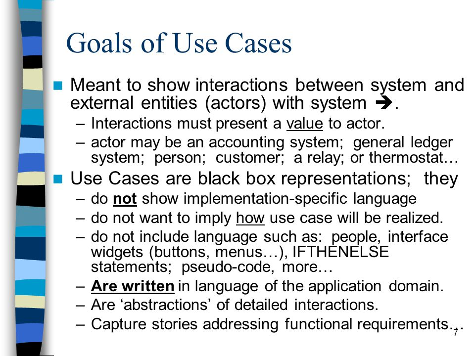 Goals of Use Cases Meant to show interactions between system and external entities (actors) with system .