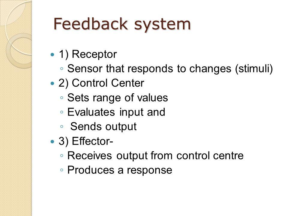 Feedback system 1) Receptor Sensor that responds to changes (stimuli)