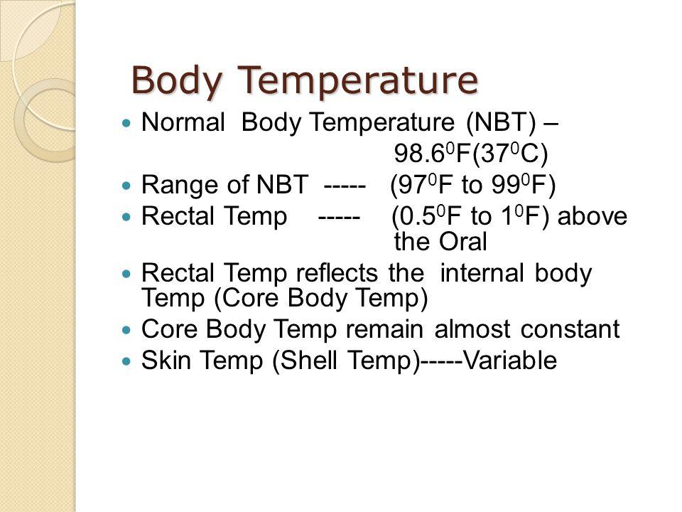 Body Temperature Normal Body Temperature (NBT) – 98.60F(370C)