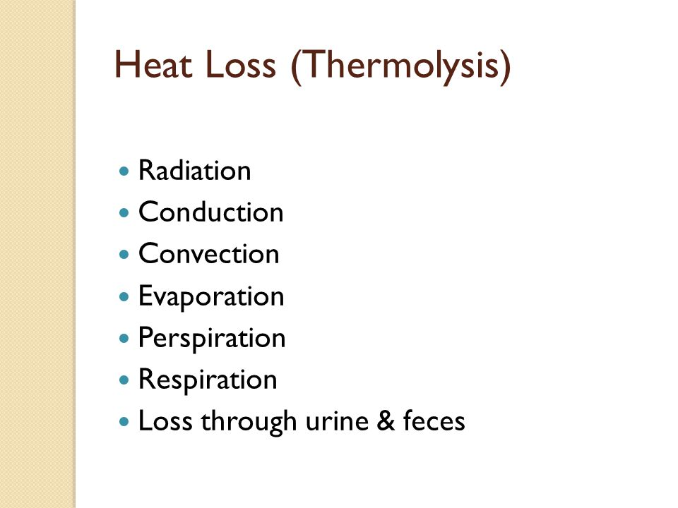 Heat Loss (Thermolysis)
