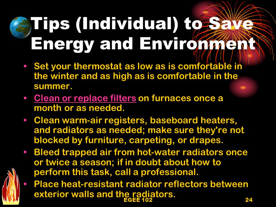 Tips (Individual) to Save Energy and Environment
