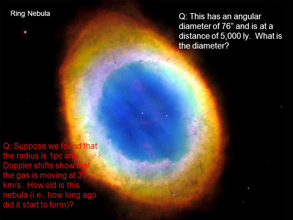 Ring Nebula Q: This has an angular diameter of 76 and is at a distance of 5,000 ly. What is the diameter